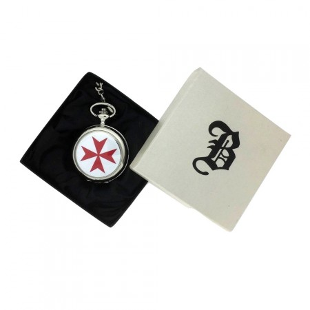 New BOXX Silver Knights Templar Pocket Watch And Chain