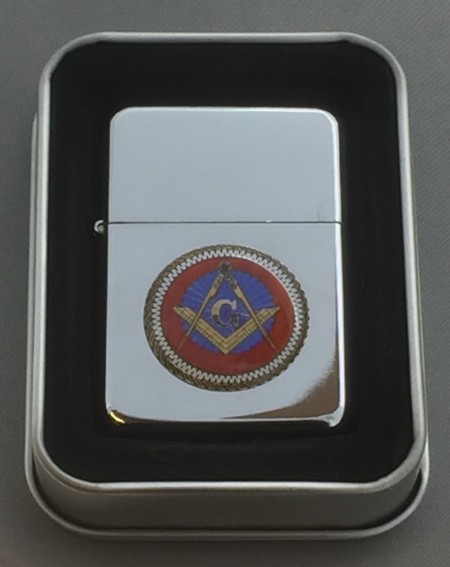 Collectable Masonic G Silver Flip top Petrol Lighter