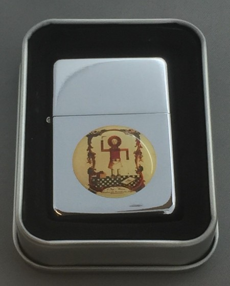 Collectable Masonic Stick Man Silver Flip top Petrol Lighter