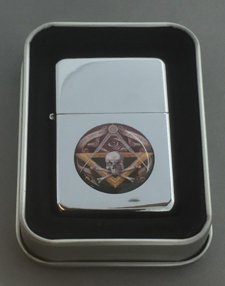 Collectable Masonic Bones Silver Flip top Petrol Lighter