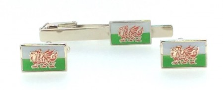 Wales Cymru Flag Welsh Dragon Badge Tie Pin And Cuff Link Gift Set