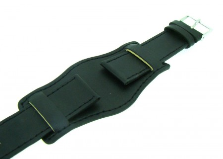 Genuine Leather Black Colour Military Cuff Watch Strap 18mm 20mm 22mm and 24mm