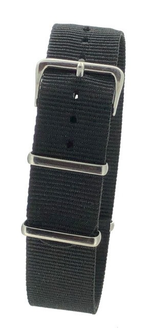 Black Nylon 1pc Military Army Watch Strap 18mm 20mm 22mm 24mm