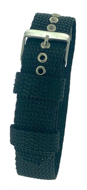 Black One-Piece 18 / 20 / 22mm Nylon Thread Through Watch Strap