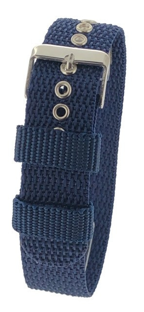 Blue One-Piece 18 / 20 / 22mm Nylon Thread Through Watch Strap