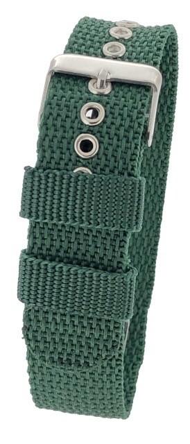 Green One-Piece 18 / 20 / 22mm Nylon Thread Through Watch Strap