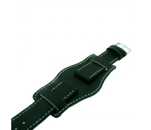 Black Genuine Leather Military Cuff Watch Strap 22mm and 24mm