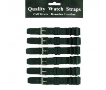 6 x Wholesale Black Divers Rubber Resin Heavy Duty Watch Strap 18mm to 24mm