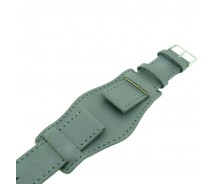 Genuine Leather Grey Colour Military Cuff Watch Strap 18mm 20mm 22mm and 24mm