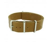 One-Piece Tan Leather Thread Through Army Military Watch Strap 18/20/22/24mm