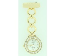 New Round Gilt Diamante Nurse Beauticians Fob Watch by BOXX