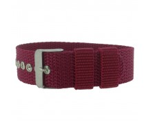 Burgundy One-Piece 18 / 20 / 22mm Nylon Thread Through Watch Strap