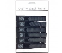 6 x Wholesale Job Lot Mens 18mm Black Nylon Watch Strap