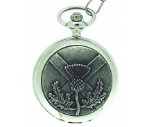 Solid Pewter Fronted Quartz Scottish Thistle Pocket Watch