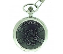 Solid Pewter Fronted Quartz Scottish Rampant Lion Pocket Watch