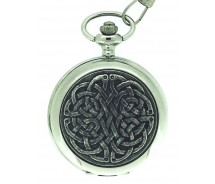 Solid Pewter Fronted Quartz Celtic Never Ending Knot Pocket Watch
