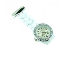 Brand New White Diamante Crystal Bezel Nurse Fob by BOXX