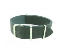 One-Piece Black Leather Thread Through Army Military Watch Strap 18/20/22/24mm