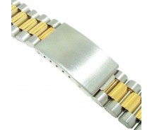 18mm Stainless Steel Two Tone 3 Link Metal Bracelet Watch Strap