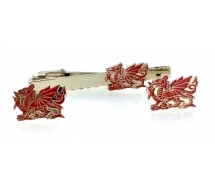 Red Welsh Dragon Tie Pin And Cuff Link Gift Set
