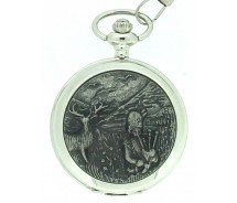 Solid Pewter Fronted Quartz Scottish Highland Piper Pocket Watch