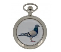 New Pigeon Silver Case Quartz Pocket Watch And Chain by WESTIME