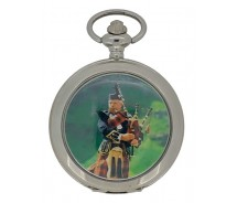 New Scottish Highland Piper Silver Case Pocket Watch And Chain by WESTIME