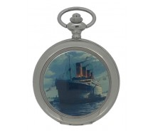New RMS Titanic Silver Tone Quartz Pocket Watch And Chain by WESTIME