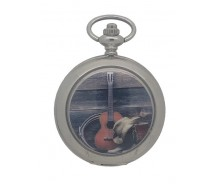 New Country Western Music Silver Tone Pocket Watch And Chain by WESTIME