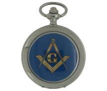 New Freemason Masonic Blue Square And Compass Mechanical Silver Case Pocket Watch And Chain