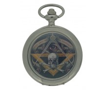 New Skull And Cross Bone Masonic Mechanical Silver Case Pocket Watch And Chain
