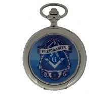 New Freemason Masonic Mechanical Silver Case Pocket Watch And Chain
