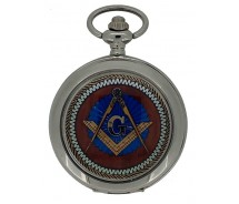 New Square And Compass Masonic Mechanical Silver Case Pocket Watch And Chain