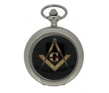 New Freemason Masonic Black Square And Compass Mechanical Silver Case Pocket Watch And Chain